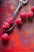 Raspberries with spoon