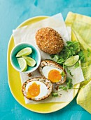 Scotch eggs with a prawn coating