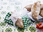 Bread stuffed with beef and vegetables
