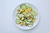Cucumber salad with pineapple and pink pepper (top view)