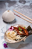 Udon noodles with spare ribs and seaweed