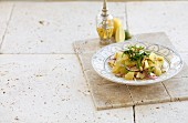 Lemon and lime salad with fried rocket