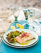 Poached salmon with a lentil salad