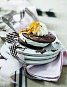 A chocolate sandwich biscuit filled with cream