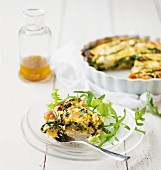 Spinach quiche with asparagus and leek