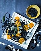 Squid spaghetti with butternut squash sauce, Gorgonzola and sage