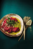 Beetroot risotto with aromatic oils