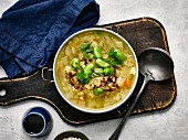 Split pea soup with lentils and pomegranate juice