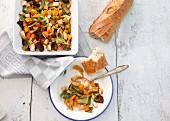 Oven-roasted vegetables with baguette