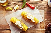 Grilled corn cobs with chilli butter and lime (Mexico)
