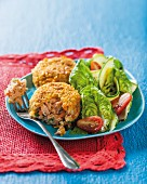 Trout fritters with a colourful salad