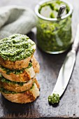Wild garlic pesto with slices of baguette