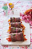 Beef roulade filled with peppers for Valentine's Day