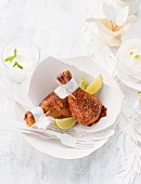 Chicken legs with lemon wedges for Easter