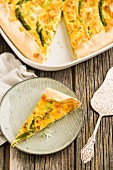 Quiche with spring onions, green asparagus and smoked Alpine salmon