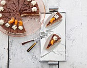 Chocolate and mandarin tart