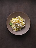 Homemade fettuccine with cream, chilli and freshly grated summer truffle