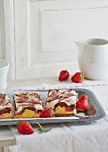 Strawberry Donauwelle (German marble cake)