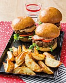 Burgers with bean cream and potato wedges