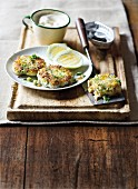 Fish cakes with sardines and parsley