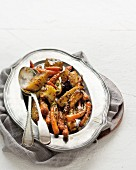 Oven-roasted vegetables with honey, ginger and mustard