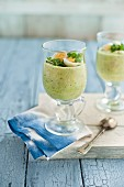 Asparagus mousse in glasses with quail's egg and cress