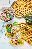Waffles with nasturtium pesto and a radish salad