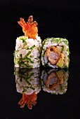 Two California maki with crispy prawns