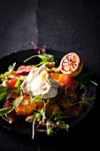 Salad with warm goat's cheese and citrus fruits
