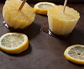 Homemade lemon ice lollies