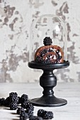 Chocolate Swiss roll with blackberries under a glass cloche