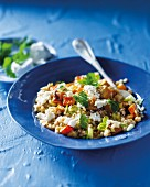 Leek risotto with barley, pumpkin and goat's cheese