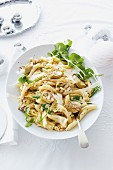 Pasta with artichokes and pine nuts