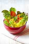 Cos lettuce with sweetcorn, avocado and tomatoes