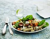 Pasta salad with spinach, chorizo and mozzarella