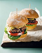 Burgers with tomatoes and onions