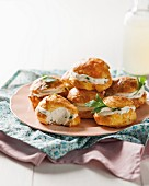 Cheese profiteroles filled with cream cheese