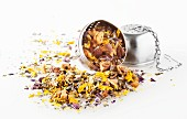 Unbrewed herb tea in a tea infuser