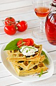 Spicy wild garlic waffles with tomatoes
