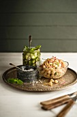 Cucumber relish and chickpea salad with sea salt