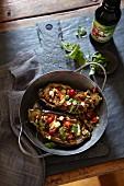 Slow baked, stuffed aubergines