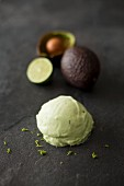A scoop of avocado and lime ice cream