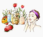 Woman moisturising face and ingredients for natural cosmetics (illustration)