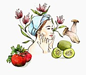 Woman applying moisturiser surrounded by ingredients for natural cosmetics (illustration)