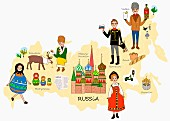 An illustration of Russia featuring typical attractions on a map