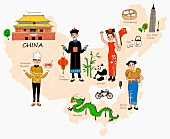 An illustration of China featuring typical attractions on a map
