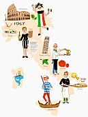 An illustration of Italy featuring typical attractions on a map