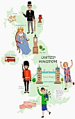 An illustration of the United Kingdom featuring attractions on a map (illustration)