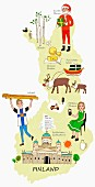 An illustration of Finland featuring typical attractions on a map