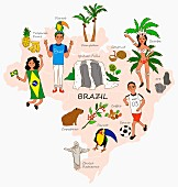 An illustration of Brazil featuring typical attractions on a map
